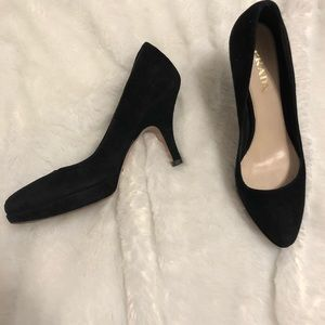 Prada suede black platform pumps 35.5